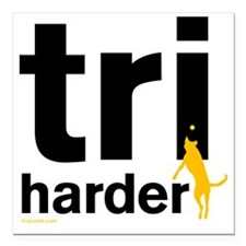 "Tri Harder Flying Three  Square Car Magnet 3"" x 3"""