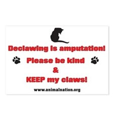Declawing is Amputation Postcards (Package of 8)