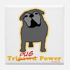 Tripawds Tri-Pug Power Dark BKG Tile Coaster