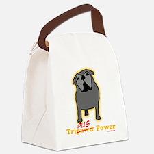 Tripawds Tri-Pug Power Dark BKG Canvas Lunch Bag