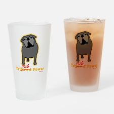 Tripawds Tri-Pug Power Dark BKG Drinking Glass