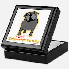 Tripawds Tri-Pug Power Dark BKG Keepsake Box