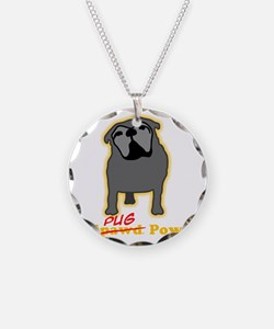 Tripawds Tri-Pug Power Dark  Necklace
