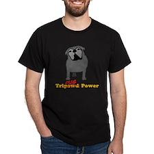 Tripawds Tri-Pug Power White BKG T-Shirt