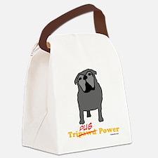 Tripawds Tri-Pug Power White BKG Canvas Lunch Bag