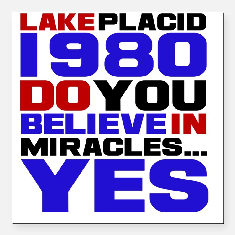 "miracle on ice Square Car Magnet 3"" x 3"""