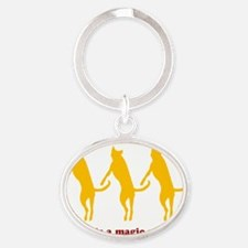 Magic Number 3 Flying Tripawds White Oval Keychain