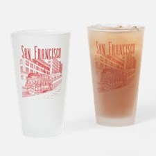 CableCar_10x10_apparel_RedOutline Drinking Glass