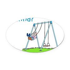 boy-on-swing Oval Car Magnet