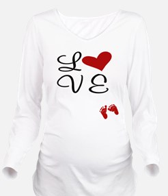 Love Baby Feet Long Sleeve Maternity T-Shirt