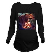 Vintage Hippopotamus Long Sleeve Maternity T-Shirt