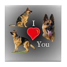 I love You GSD Tile Coaster