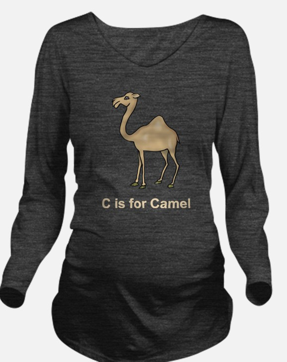 C is for Camel Long Sleeve Maternity T-Shirt
