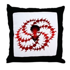 Red Crop Circle with Alien Face Throw Pillow