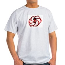 Red Crop Circle with Alien Face Ash Grey T-Shirt