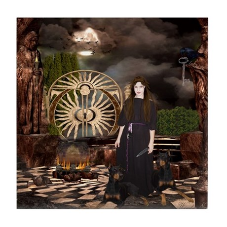 Hecate Queen of Sacred Knowle Tile Coaster