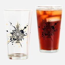 SkullSpadeNavyCream Drinking Glass