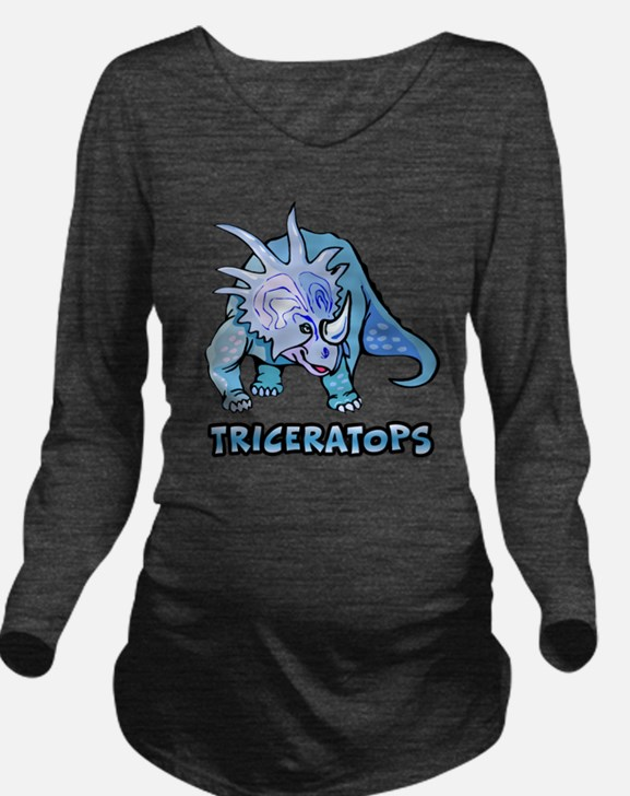 Triceratops Long Sleeve Maternity T-Shirt