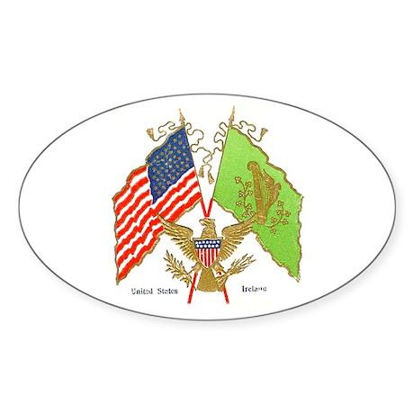 Irish American Flags Oval Sticker