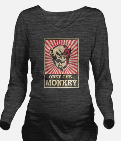 Obey The Monkey Long Sleeve Maternity T-Shirt
