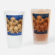golden retreiver puppies Drinking Glass