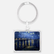 Starry Night Over the Rhone Landscape Keychain
