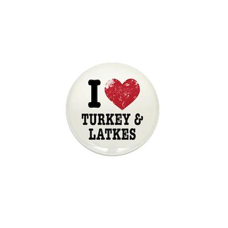 I Heart Turkeys Latkes Mini Button (100 pack)