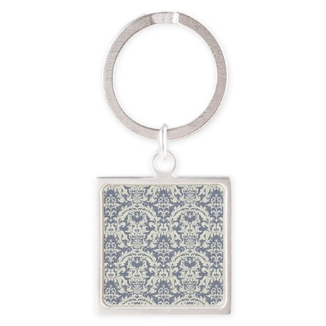 Lovely Steel Blue and Cream Vintag Square Keychain