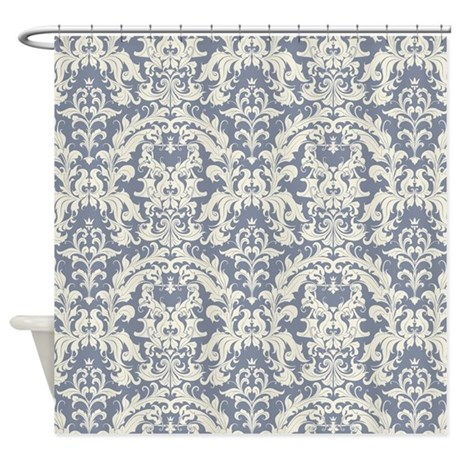 Lovely Steel Blue And Cream Vintage Shower Curtain By