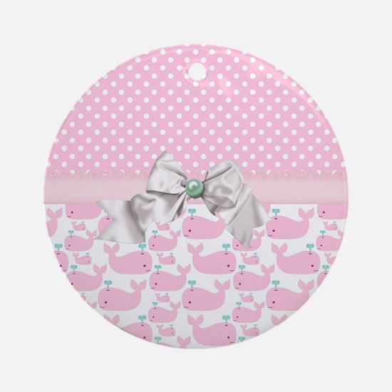 Baby Pink Whales  Round Ornament