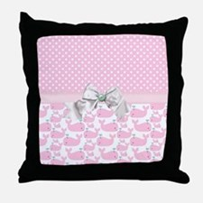 Baby Pink Whales  Throw Pillow