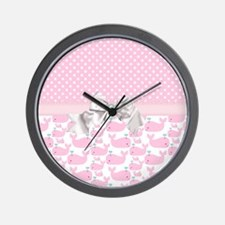 Baby Pink Whales  Wall Clock