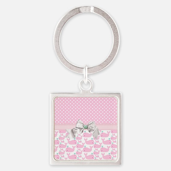 Baby Pink Whales  Square Keychain