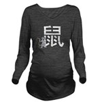 Chinese Rat Calligraphy Long Sleeve Maternity T-Sh