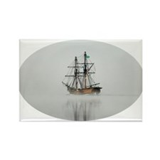 Tall Boat on a Foggy Morning - Tr Rectangle Magnet