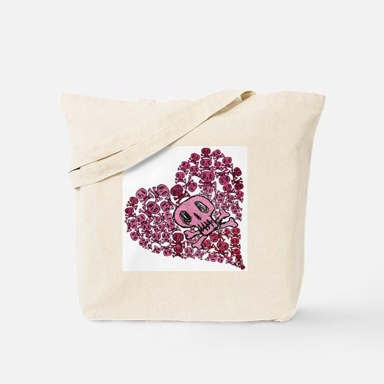 SKULL HEART VINTAGE Tote Bag