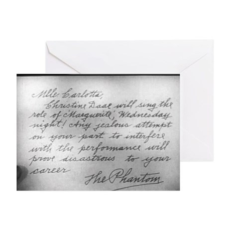 Phantom Note to Carlotta Greeting Cards (Package o