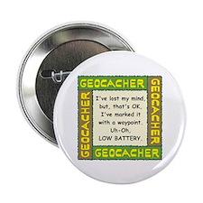 """Green Geocacher Lost Mind 2.25"""" Button"""