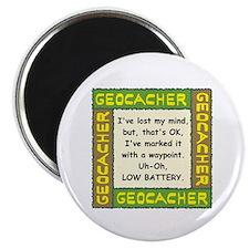 Green Geocacher Lost Mind Magnet