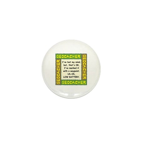 Green Geocacher Lost Mind Mini Button (100 pack)