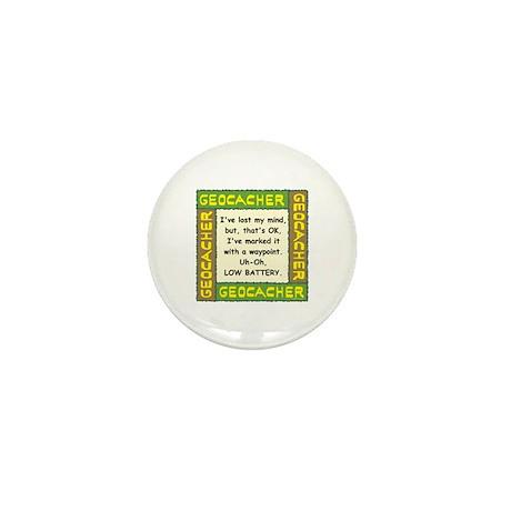 Green Geocacher Lost Mind Mini Button (10 pack)