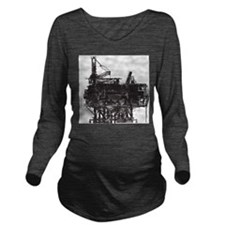 Vintage Oil Rig Long Sleeve Maternity T-Shirt