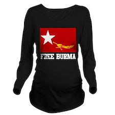 Free Burma Long Sleeve Maternity T-Shirt