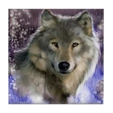 wolf 12x9 Tile Coaster