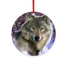 wolf 12x9 Round Ornament