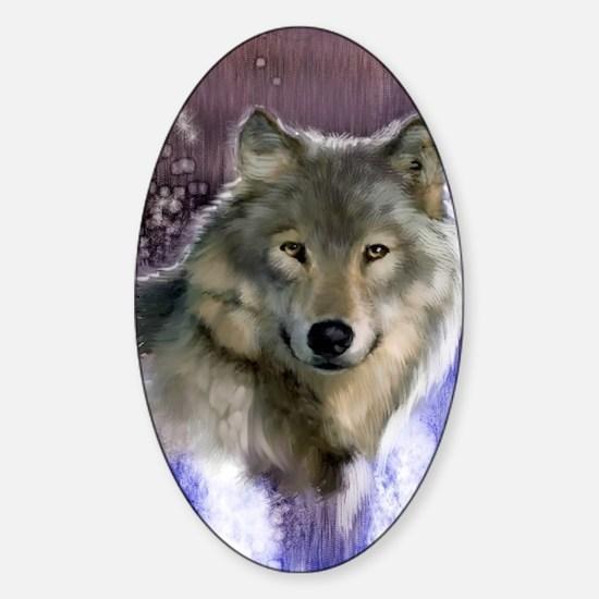 wolf 12x9 Sticker (Oval)