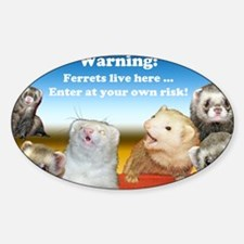 Warning Ferrets live here poster wh Sticker (Oval)