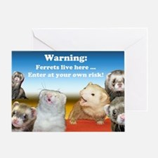 Warning Ferrets live here poster whi Greeting Card