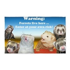 Warning Ferrets live here poster wh 3'x5' Area Rug