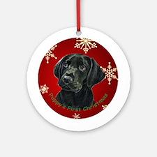 Thinker Black Lab Pup Ornament (Round)